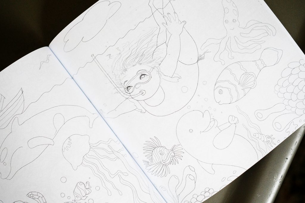 A spread inside Her Body Can (the coloring book) shows a girl scuba diving among cute sea life.
